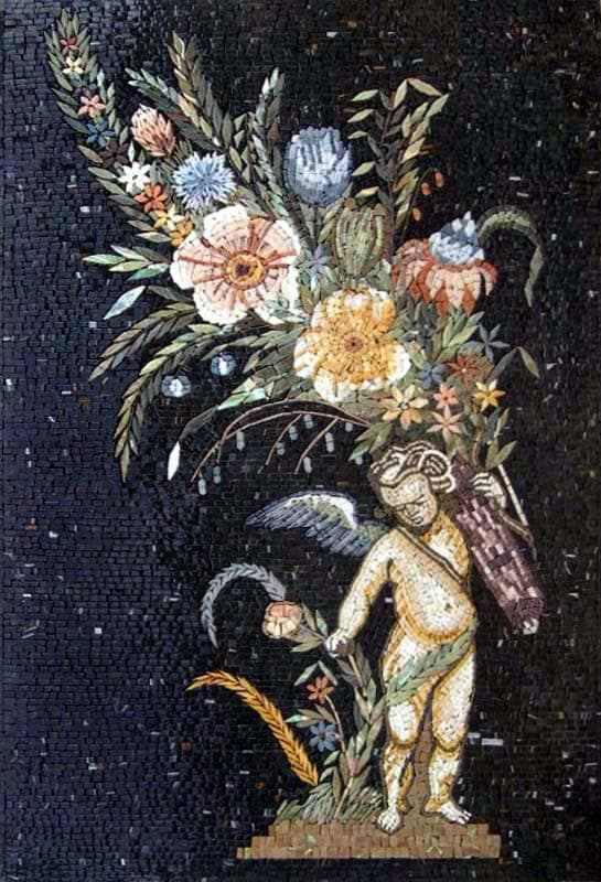The Cherub Of Flowers Mosaic