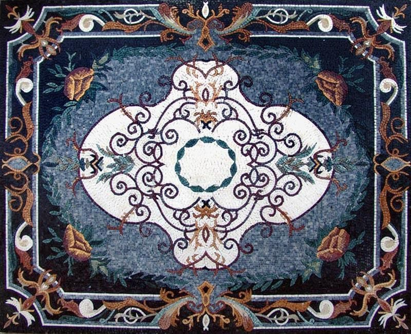 Floral Mosaic Rug Floor Inlay Art Tile Pic
