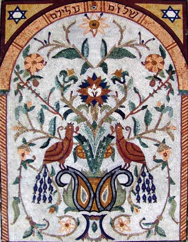 Arched Marble Mosaics - Peafowls by Flowers