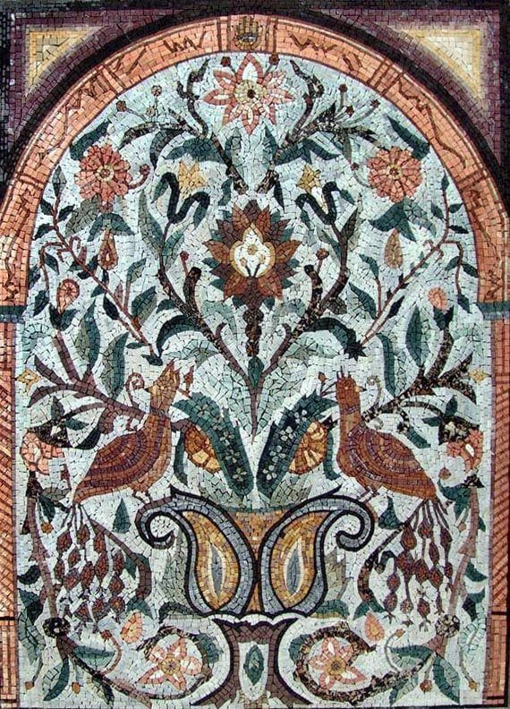 Floral Tile Mosaic Patterns. Arched