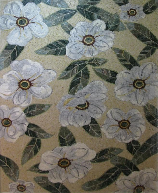 Mosaic Wallpaper- White Aster Flower