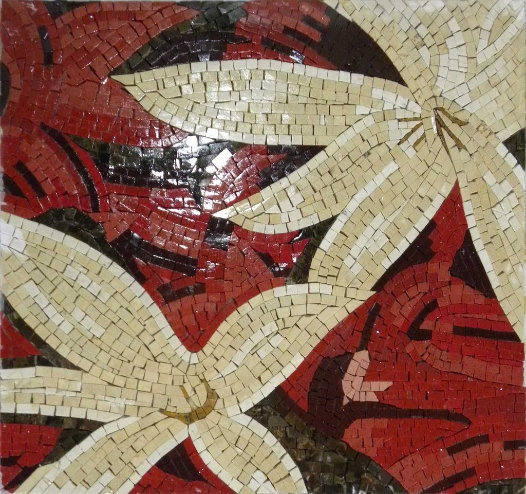 Mosaic Wall Art - Red Lilly Flowers