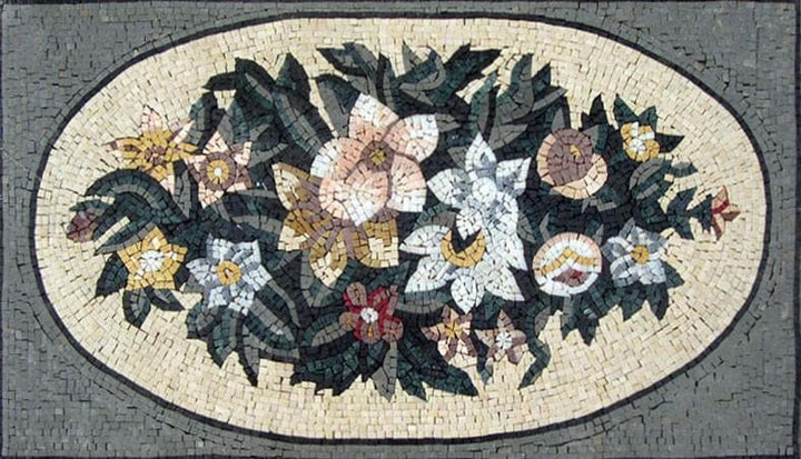 Roman Mosaic Pattern-Flower Art