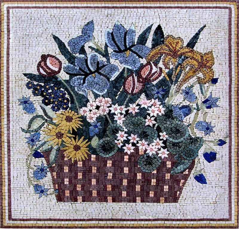 Forget Me Not And Daisies Flower Mosaic Pic