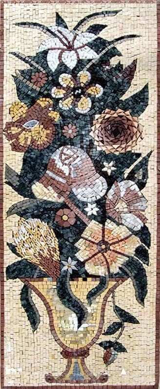 Floral Mosaic Pattern.Daffodil and Anemone