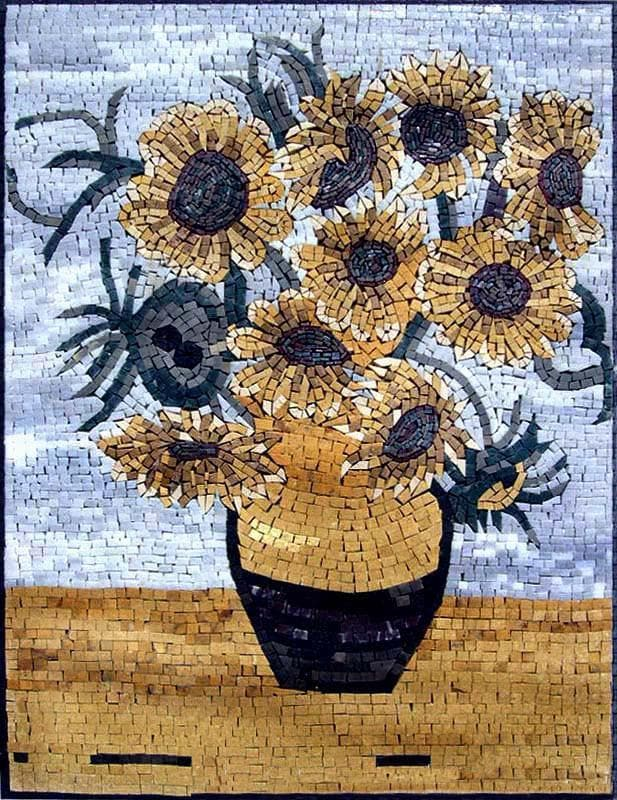Sunflowers Van Gogh Mosaic Reproduction Pic