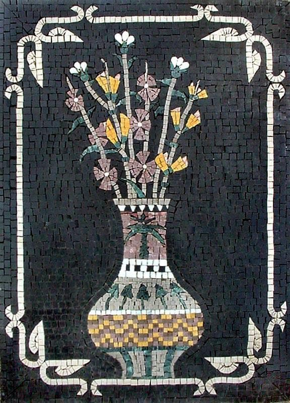 White Statice African Floral Artwork Mosaic Pic