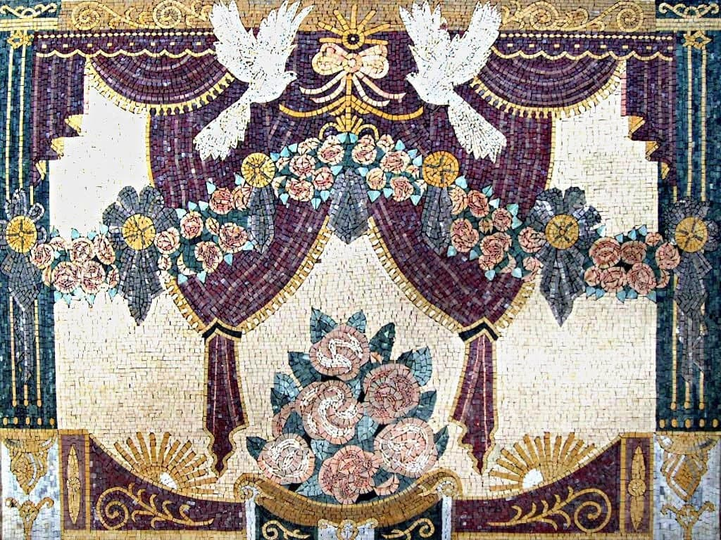 Mosaic Wall Art Flowers And Doves Pic