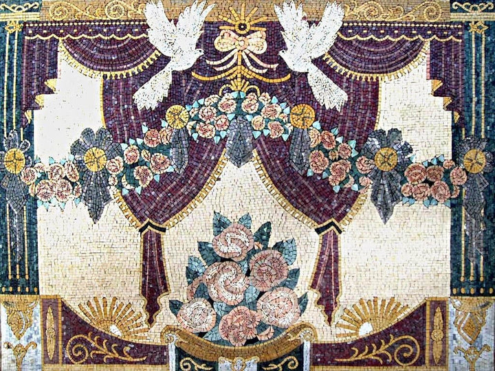 Mosaic Wall Art - Flowers and Doves