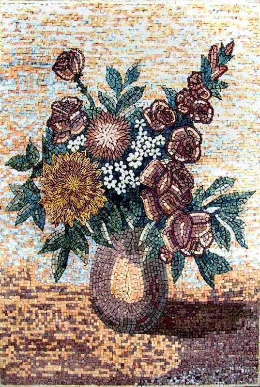 Mosaic Wall Art Rose And Sunflower Pic