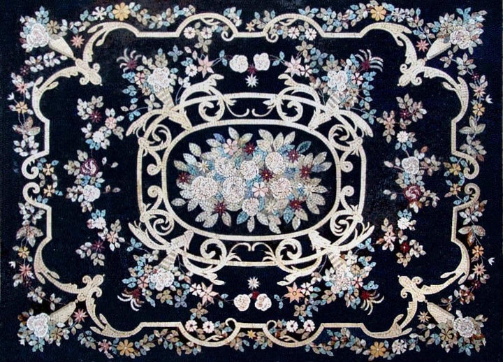 Flower Mosaic Pattern Tile Rug - Si