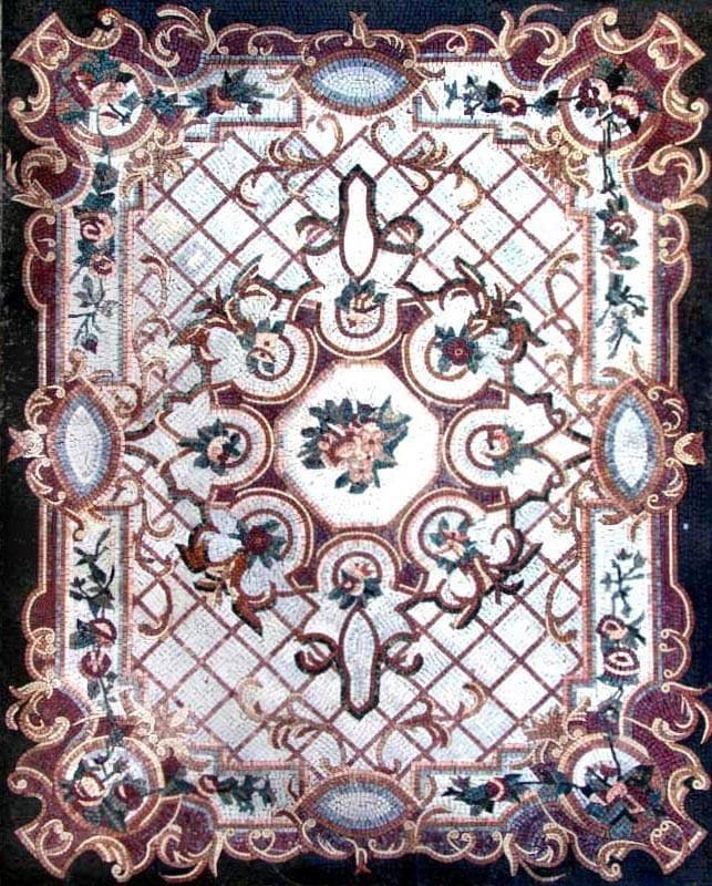 Floral Marble Mosaic Floor Carpet Tiles Pic