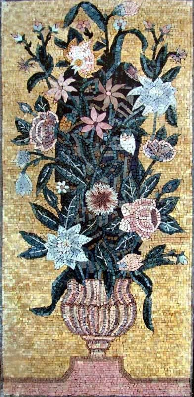 Mosaic Wall Art Vase Of Flowers Pic