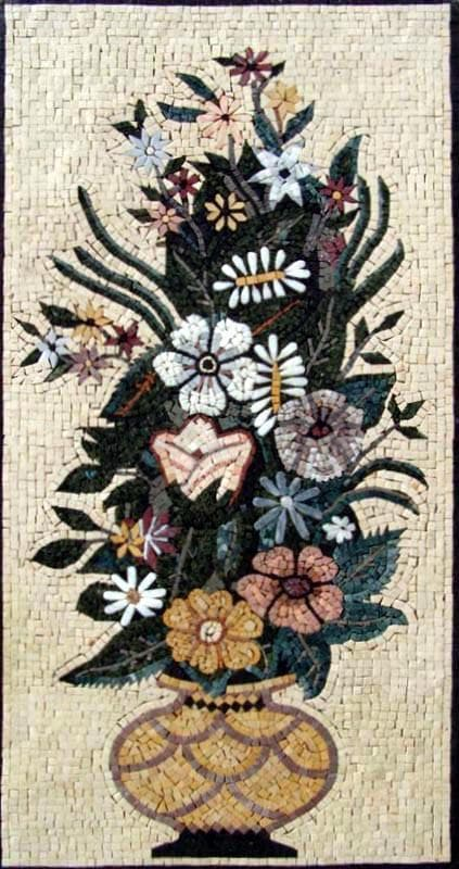 Mosaic Tile Art - Roman Blooms
