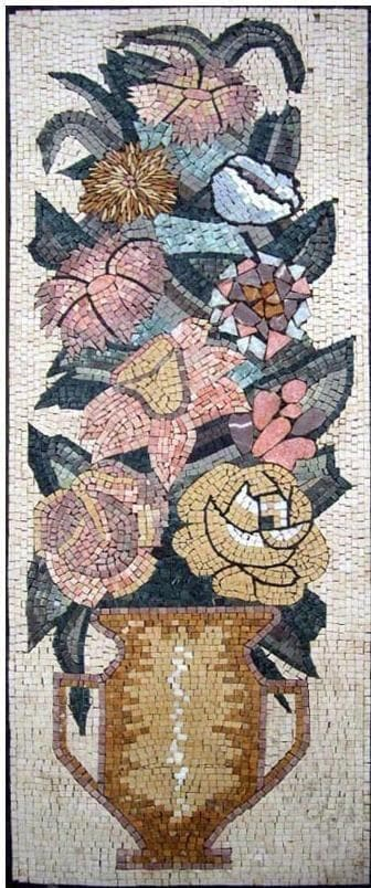 Mosaic Wall Art Thistle And Roses Pic