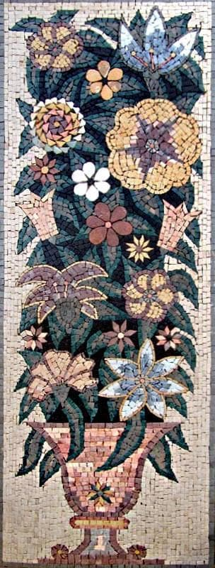Mosaic Tile Art Mounting Florals Pic