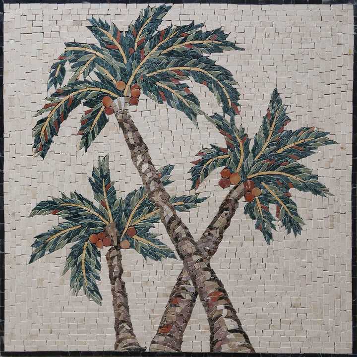 Marble Mosaic Wall Art - Arecaceae Palm Trees