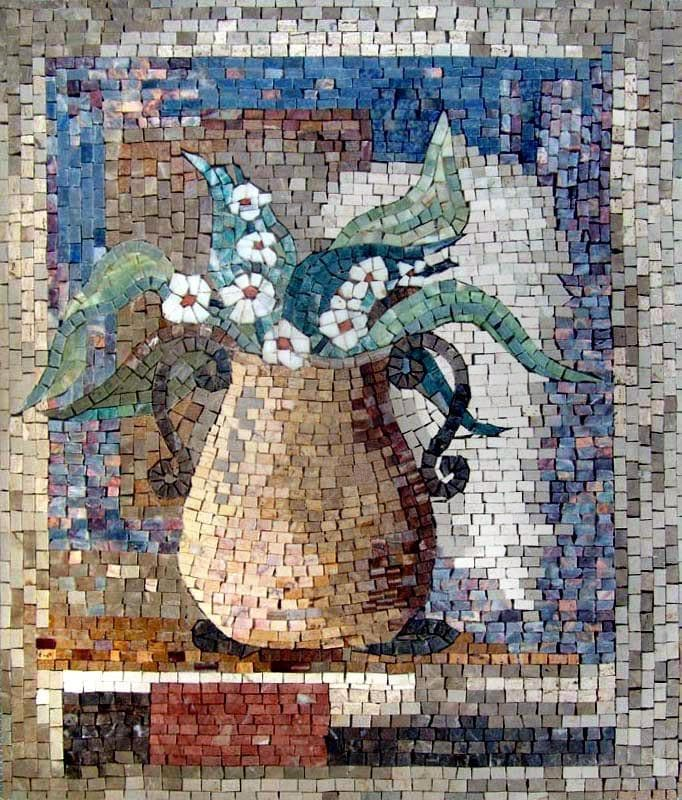 Mosaic Art - Flowers In A Pot