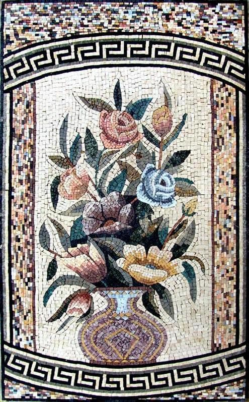 Mosaic Wall Art - Framed Antique Vase