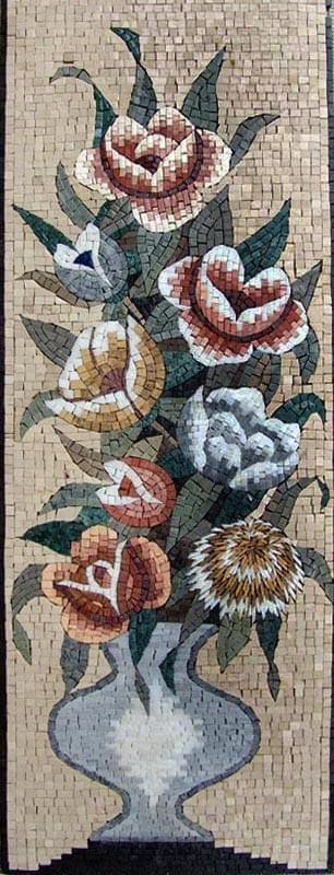 Mosaic Art  - The Pot Of Roses