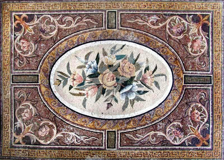Floral Floor Mosaic Carpet Design