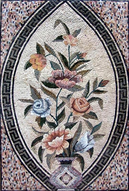 Floral Mosaic Art - Marble Pattern
