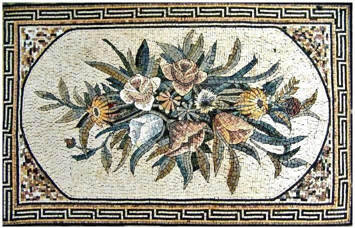 Mosaic Tile Art - Flower Bouquet Rug
