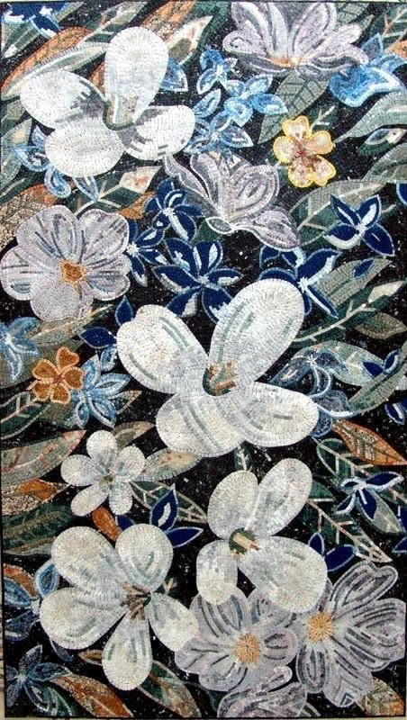 Mosaic art for sale white poppy flowers and trees mozaico mosaic art for sale white poppy mightylinksfo