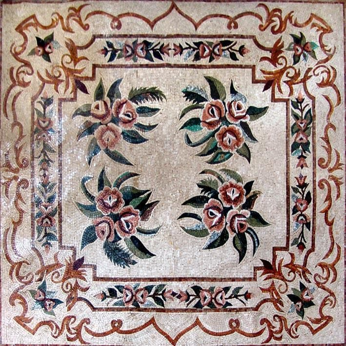 Beautiful Floral Marble Floor Mosaic Hand Made Pic