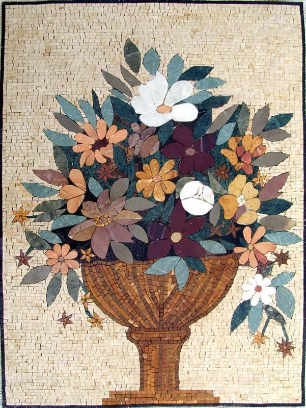 Mosaic Wall Art Floral Bouquet Pic