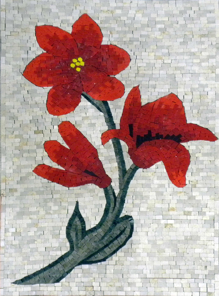 Floral Mosaic Art - Beautiful Reds