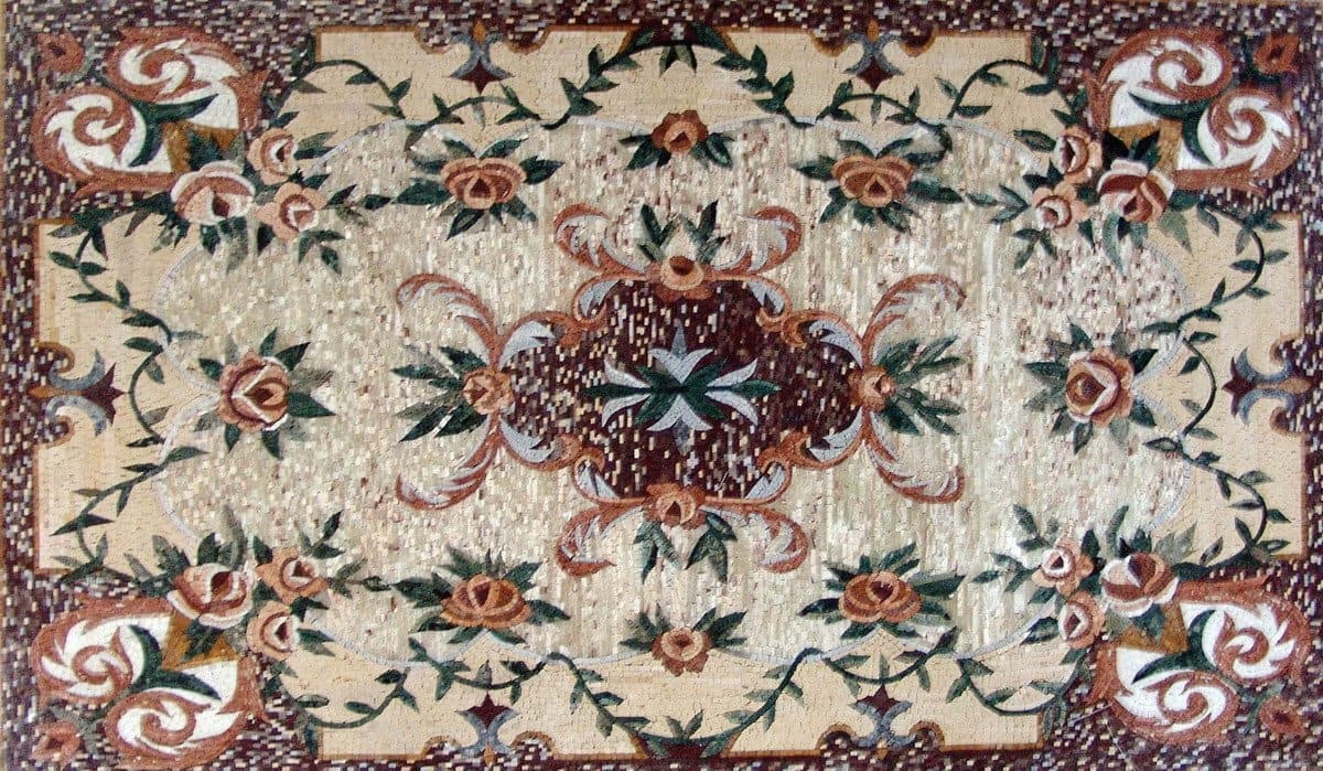 Floral Design Mosaic Marble Rug