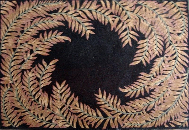 Marble Mosaic Leaves Design on Black Background