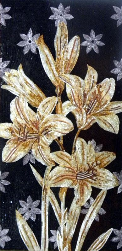 Flower Mosaic Wall Art Golden Lilies Pic