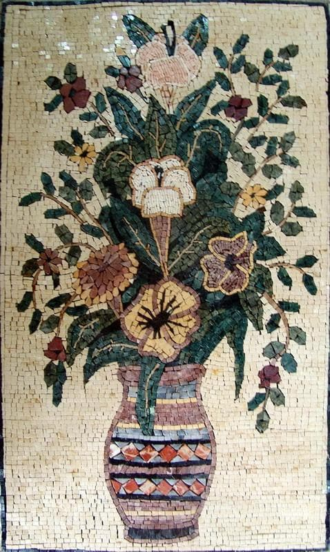 Mosaic Artwork - Vase Of Beige