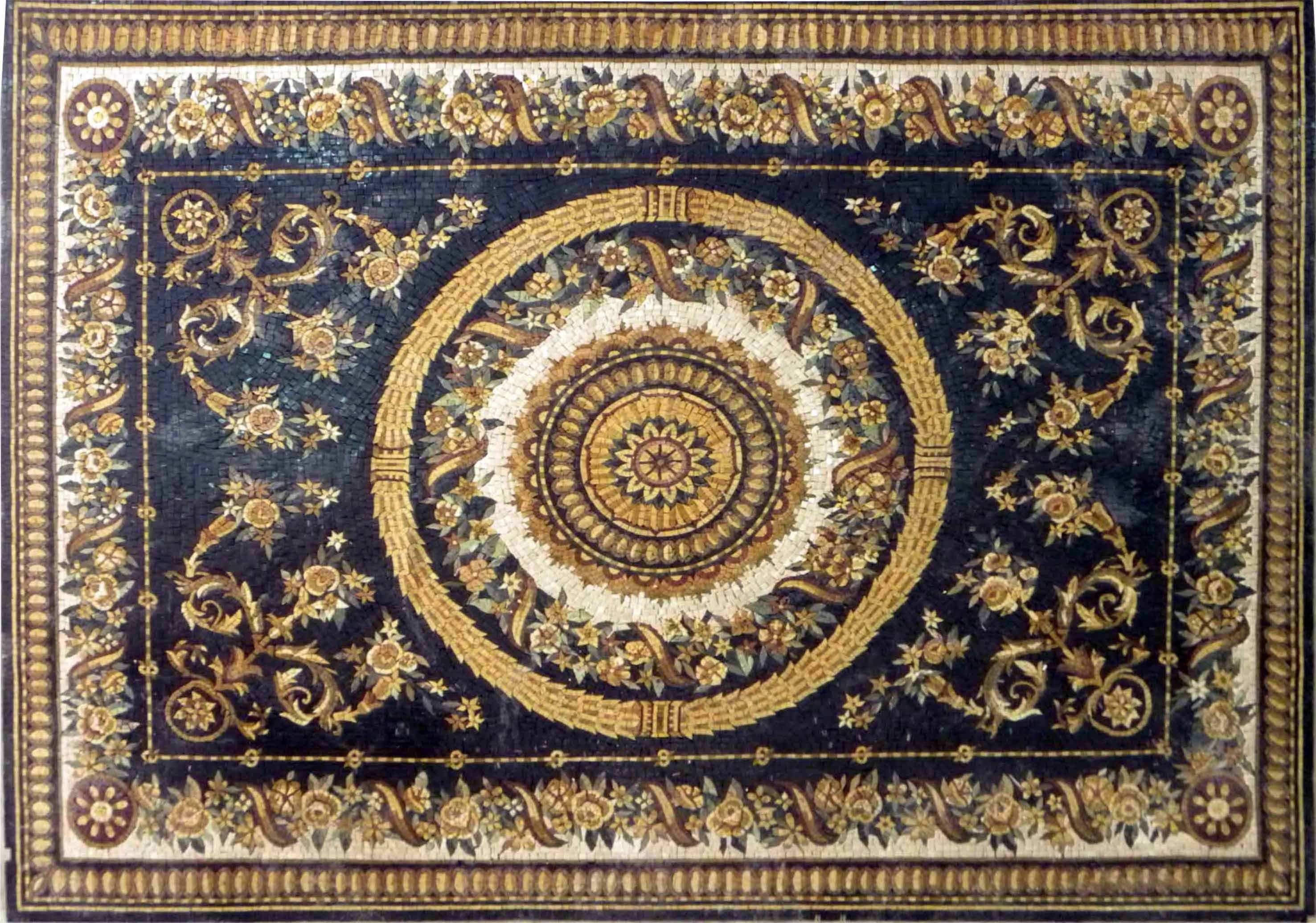 Floral Stone Mosaic Rug