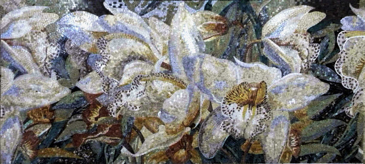 Flowers Mosaic - White Lilies