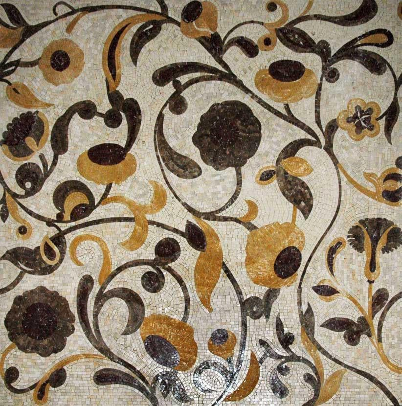 Chocolate Sunflower Mosaic Tile Patterns Pic