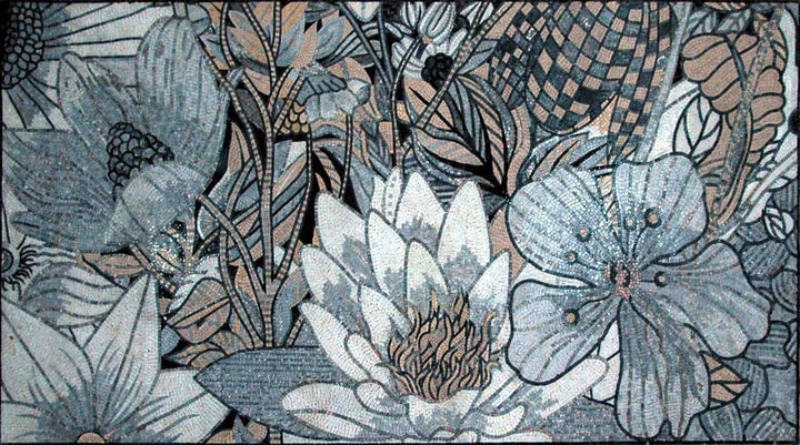 Mosaic Tile Art - Ivory Lotus