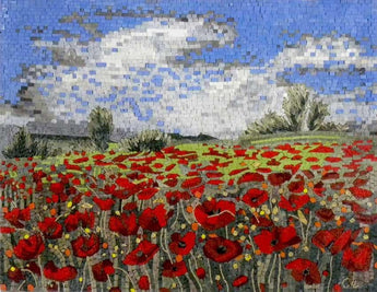 Mosaic Poppy Flower Field -