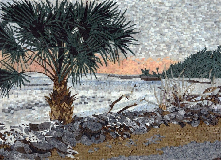 Island  Seascape Mosaic Palm Trees