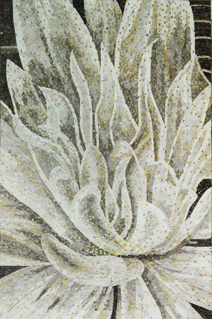 Mosaic Flower Art - White Dahlia