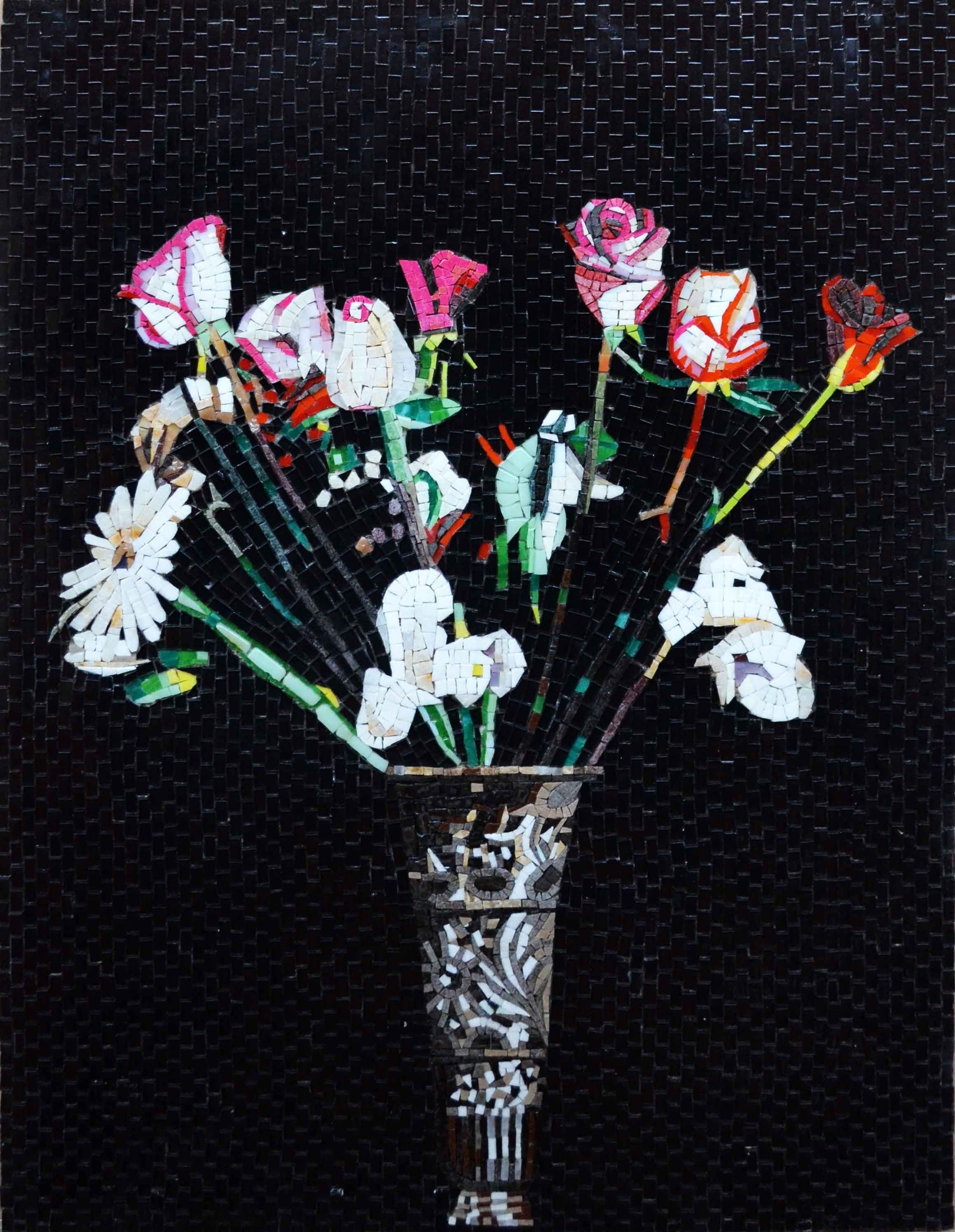 Mosaic Art Flowers In A Vase Pic