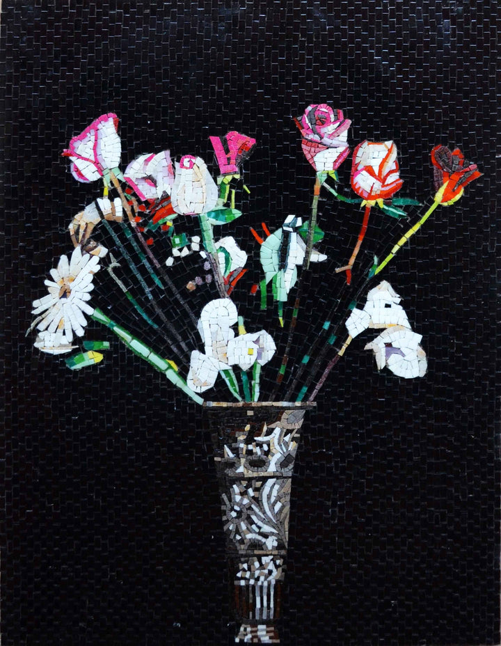Mosaic Art - Flowers in a Vase