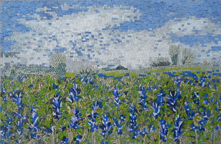Mosaic Art - Indigo Flower Field