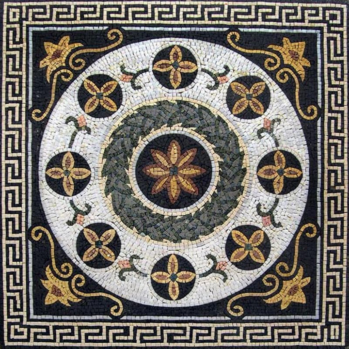 Greco-Roman Floral Panel - Apollo Gray