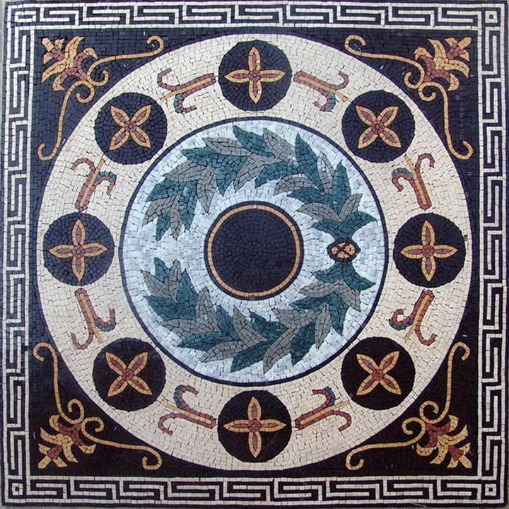 Greco-Roman Floral Panel - Apollo Green