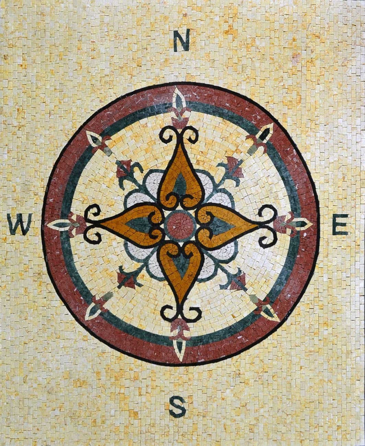 Compass Mosaic Art - Rose Of The wind