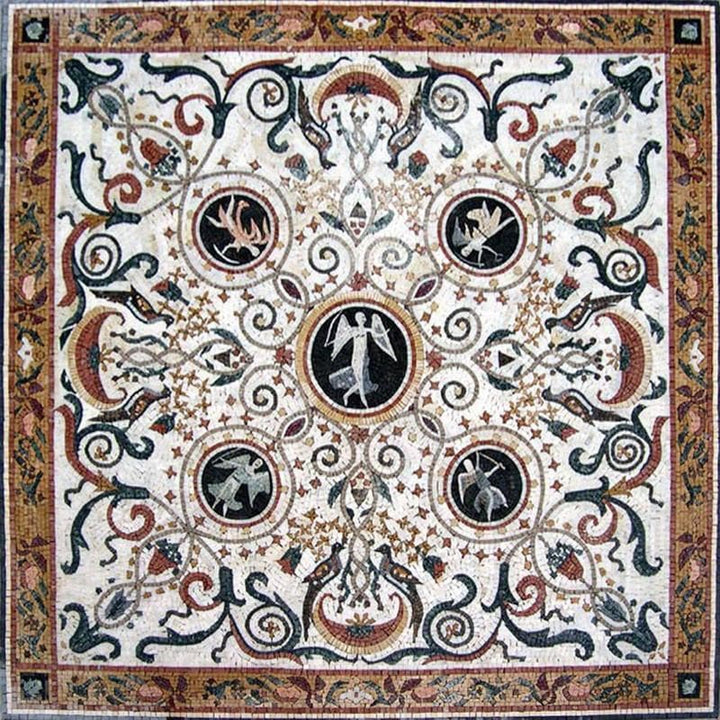 Five Angels Mosaic Art TileStone  Rug Inlay
