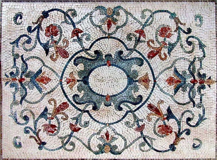 Arabesque Botanical Floor Mosaic - Kali